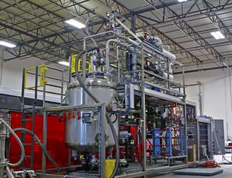 A polymer producing batch reactor module is pictured in EPIC's fabrication shop