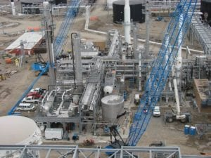 A birds eye view of a chemical plant construction site in Montana