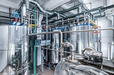 Clean in place system shown installed at plant