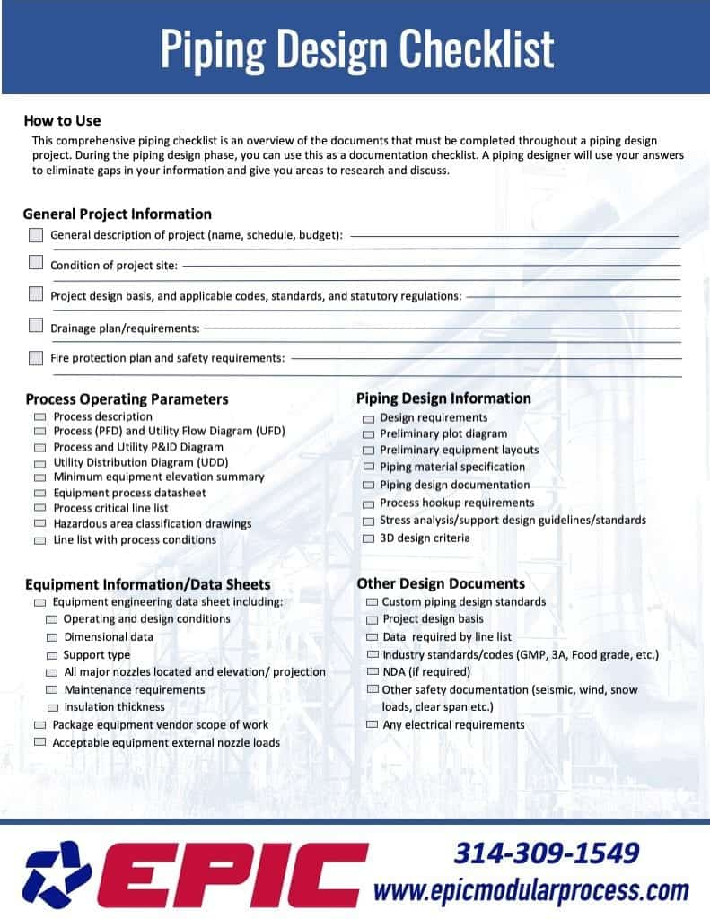EPIC's piping system project planner