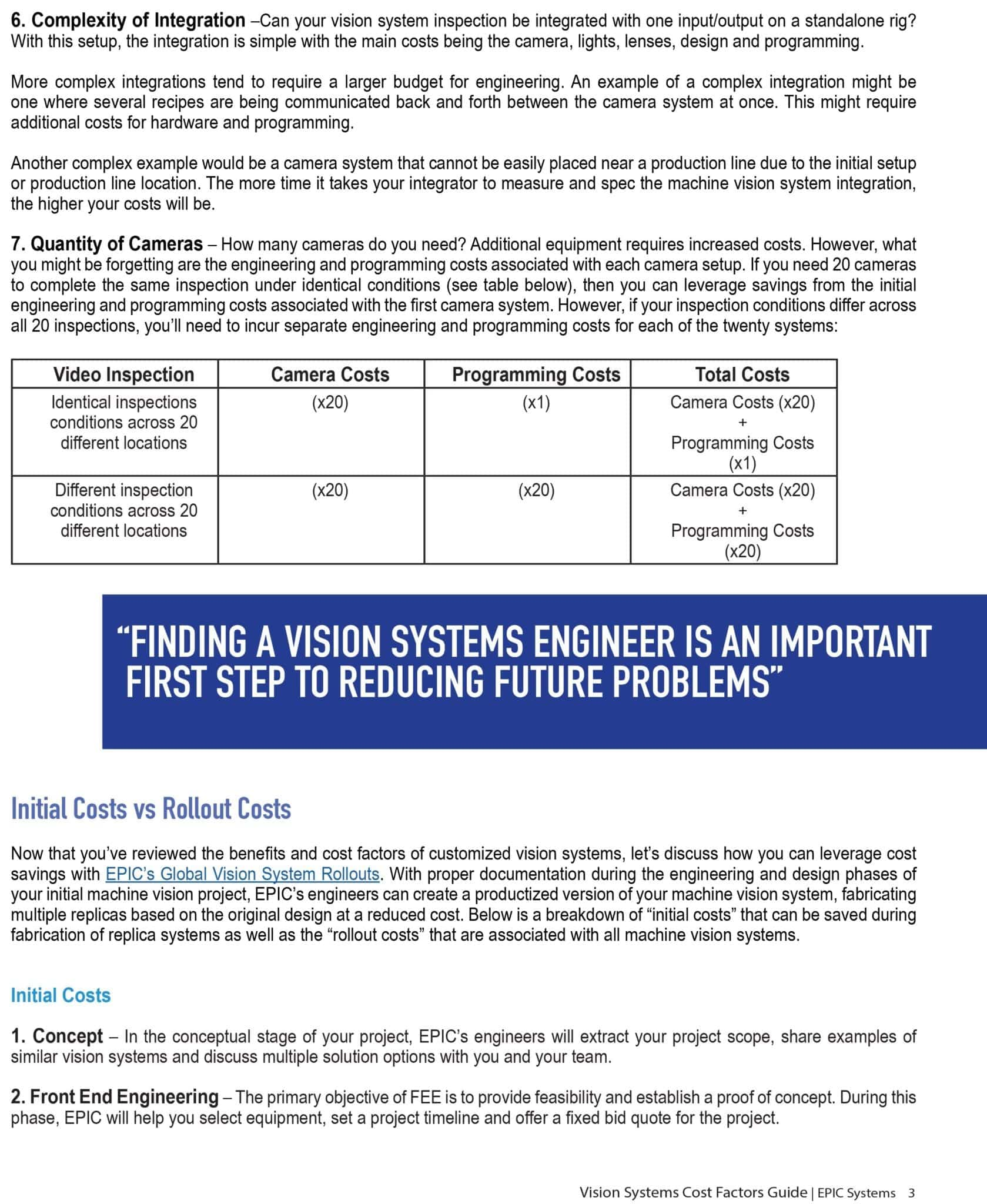First page of vision systems cost factors guide